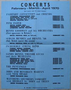 PINK FLOYD Feb-March-April 1970 foldout program / poster