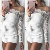 Fashion Womens Sexy Off Shoulder Floral Jumpsuit Long Sleeve Lace Party Playsuit