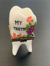 Nwt Porcelain Painted Baby Teeth Keeper With Porcelain Tooth Inside