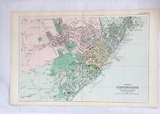 LARGE MAP OF EASTBOURNE C1907 GEORGE  BACON ANTIQUE ORIGINAL