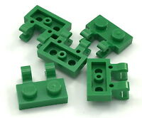 Lego Lot of 5 New Green Plates Modified 1 x 2 with Clips Horizontal