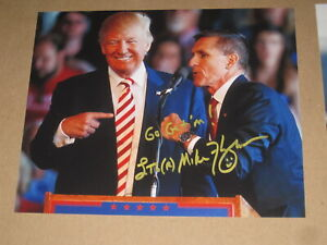 Army General MICHAEL FLYNN Signed 8x10 Photo DONALD TRUMP AUTOGRAPH 1F