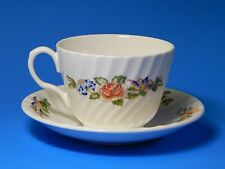 Aynsley English Bone China Cottage Garden Swirl Tea Cup and Saucer Set