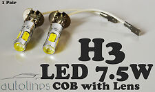 2 x H3 7.5W LED COB Lens 12V Headlight Xenon Super White Fog Lamp Globes Bulbs