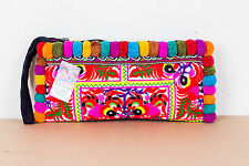 Multi Pom Pom Ethnic Wristlet with Peacock Hmong Embroidered Thai Boho Purse