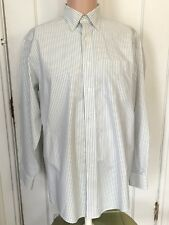 L L Bean Shirt Mens Size 15.5 33 Long Sleeve Green Oxford Stripe 15 1/2