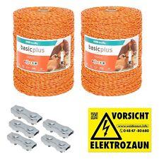 2000m Robuste Weidezaunlitze 3x0,20 Niro gelb-orange + Verbinder und Warnschild