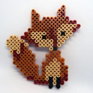 Cute FOX handmade Hama beaded medium coaster topper art decorative item
