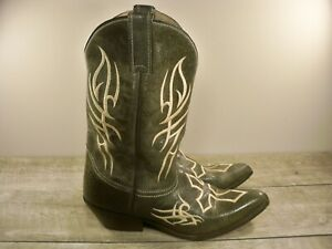 "Classic Justin Cowboy Riding Western Women's Distressed ""Cross"" Leather Boots 10"