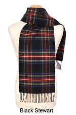 Mens/Ladies Stewart Black 100% Lambswool Scarf - Made in Scotland by Lochcarron