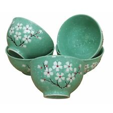 Chinese Rice Bowls - Turquoise Blossom Textured Pattern - Set of 5 - Boxed