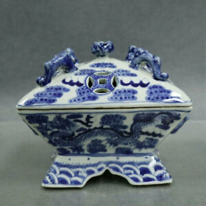 China Blue-and-white Porcelain Two Dragon Tetragonum Hollow Out Incense Burner