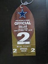 Dallas Team Official Pass Cowboys Cardinals @ Arizona 9/7/1997 W/ Meal Ticket