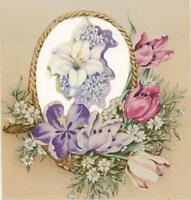 VINTAGE TUPILS FLOWER LILY SHABBY COUNTRY CHIC COLLAGE PICTURE PRETTY ART PRINT
