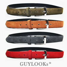 Euro Elegant Chic Mens Suede Leather Semi Casual Mix Dress Belt Red Gray Guylook