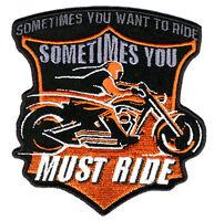 YOU MUST RIDE MOTORCYLE PATCH P3750 biker jacket NEW novelty iron on heat sewon