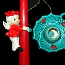 Vintage Commodore Angel Boy Candle Hugger Holder And Holly Base
