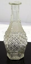 Clear Molded Pressed Decorative Glass Geometric Pattern Wine Decanter / Vase