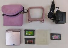 PEARL PINK NINTENDO GAMEBOY ADVANCE SP CONSOLE + PSU PROTECTIVE BAG & 2 GAMES