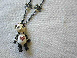 Vintage Betsey Johnson Enamel and Rhinestone Panda Necklace