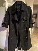 Black Rivet Womens Trench Coat Jacket Black Size Small EUC!
