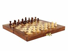 Vintage Folding Wooden Chess Set Board With Hand Carved Pieces Kingsman Chess