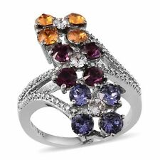 Multi Color SWAROVSKI Crystal Stainless Steel Ring Size 7 (D)