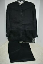 Como M 2pc 100% Linen Black Button Top & Pants Lace Embellishment Nice