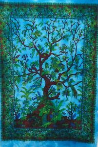Wall Hanging Blue Poster Tapestry Tree Of Life Tie-Dye Home Decor Art Bohemian