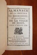 1779 Dijon Bourgogne Almanach Bibliophilie Reliure Superbe Grands noms fonctions