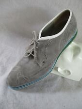 Cesare Paciotti authentic gray suede modern oxfords brogues dress shoes 9.5