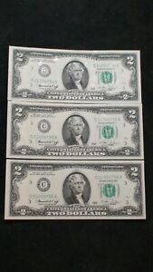 3 CONSECUTIVE 1976 Two Dollar CHOICE UNC PHILLY NOTES WITH STAMPS 3 $2 Bills!