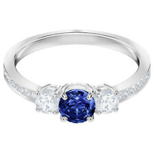 Swarovski 5448831 Attract Trilogy Ring, Blue, Rhodium Plated, Size 58, RRP$149
