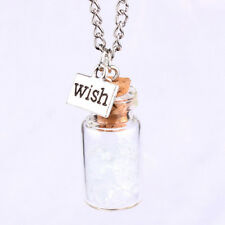 Best Wishes bottle Mini Wishing Clear Glass Bottle Necklace Pendent Gift