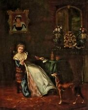 """Fine Restored Old Master 18th Century Oil Painting, """"Woman Training Whippet Dog"""""""