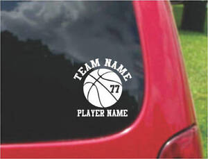Set Basketball  Sports Decals with FREE custom text   20 Colors To Choose From