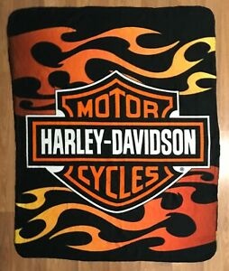 HARLEY-DAVIDSON flames fleece blanket throw 2010 50x60 motorcycle biker