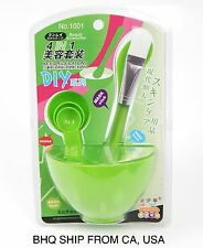 4 in 1 DIY Mask Facial skin care Bowl Brush Spoon Stick Tool set Green