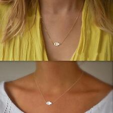 Gold  Tone Women Hamsa Fatima Hand God Evil Eye Collar Choker Necklace