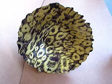 ARDA HAND MADE & PAINTED FREE FORM GLASS BOWL LARGE Purple Gold TURKEY Food Safe