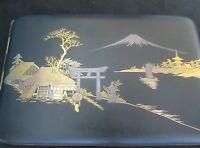 Japanese vintage damascene Iron gold and silver cigarette case signed