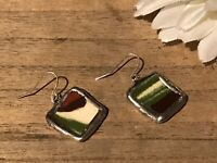 Recycled Broken Porcelain Jewelry, Green Marble Earrings