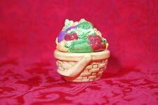 Vintage Ceramic Vegetable Garden Wicker Basket Stacking Salt & Pepper Shaker Set