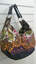 Medium Summer Shoulder Handbag Floral Print Two Strap Boho Zip Internal Pockets