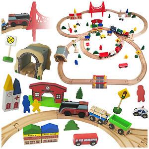 Holzeisenbahn Eisenbahn Kinder Zug Spielzeug GS0012 mit Bateriebetriebene Loko