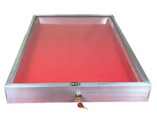 Aluminum Display Case End Opening 22 x 34 x 31/4 Knives Cards Gun with RED LINER
