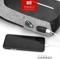Men's Shoulder Bag polyester Sling Chest USB Charging Sports Crossbody Handbag