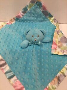 Blankets & Beyond Blue Multi Color Dots Minky Bear Security Blanket Lovey