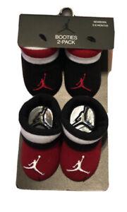 2 Pair Nike Air Jordan Baby Boys Booties, Size 0-6 Months, Shower Gift Red Black