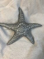 "Vintage Silver Brass Starfish Giant 10.5""Heavy Has Hook For Hanging On Back"